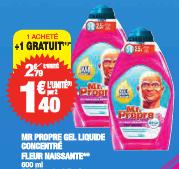 Lot de 2 Gels Liquides concentrés Mr Propre fleur naissante 600ML