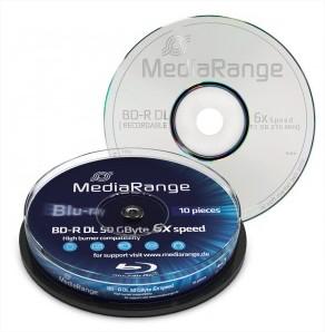 Blu-ray Disc Mediarange BD-R DL 50 Go, 6x vitesse en cakebox, 10 pièces
