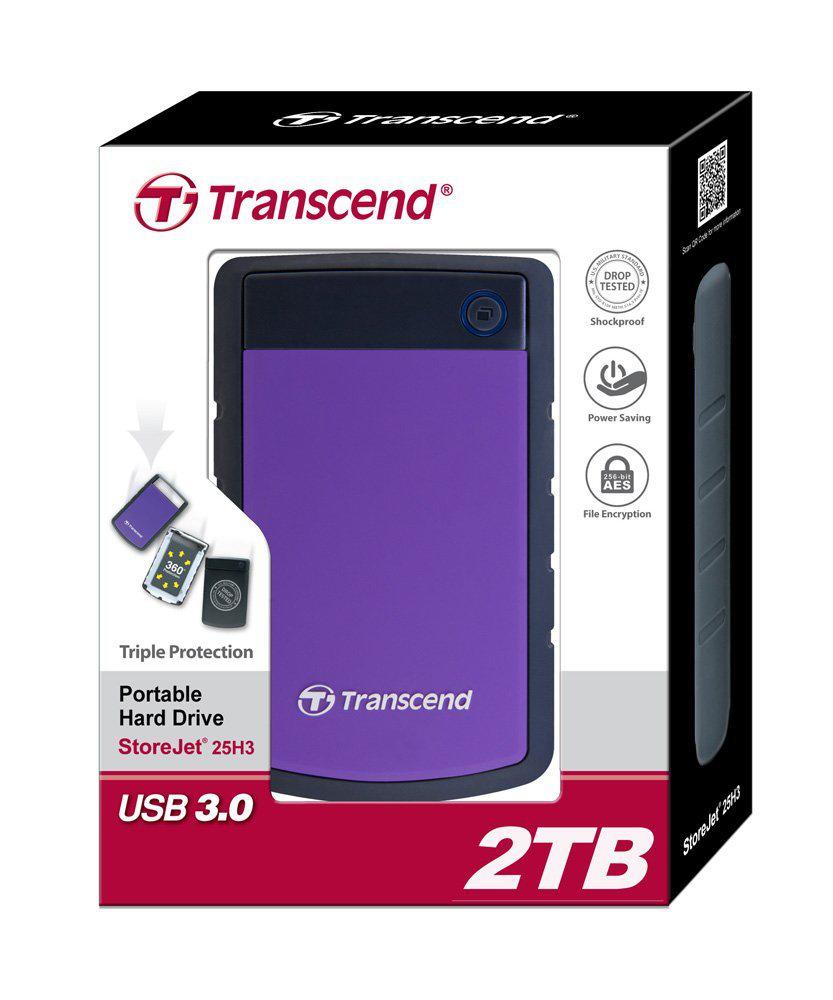 """Disque dur 2 To externe 2.5"""" USB3.0  Transcend StoreJet 25H3P anti-chocs"""
