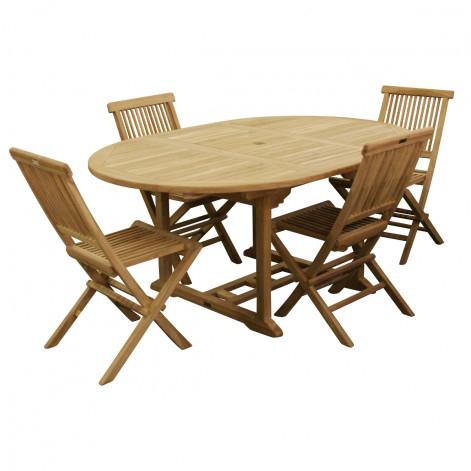 Salon de jardin en Teck brut: table + 4 chaises (73,91€ de port)