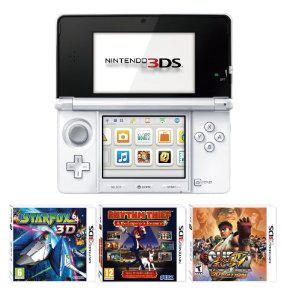 Nintendo 3DS blanche, rose ou noire + 3 jeux