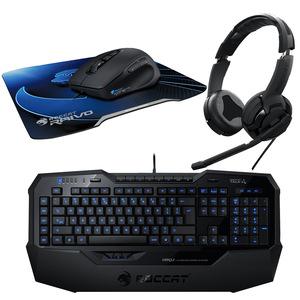 Pack gamer Roccat : clavier Isku + souris laser Kone + tapis Raivo + casque-micro Kulo