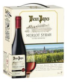 Lot de 2 bag in box 3L Vin rouge Vieux Papes Merlot Syrah (50% sur carte fidélité + ODR)