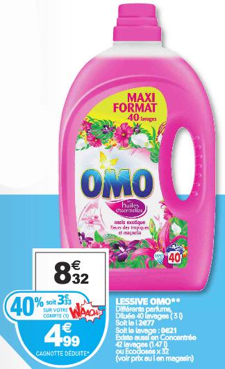 Lessive OMO Maxi Format 3L (40 lavages) plusieurs parfums