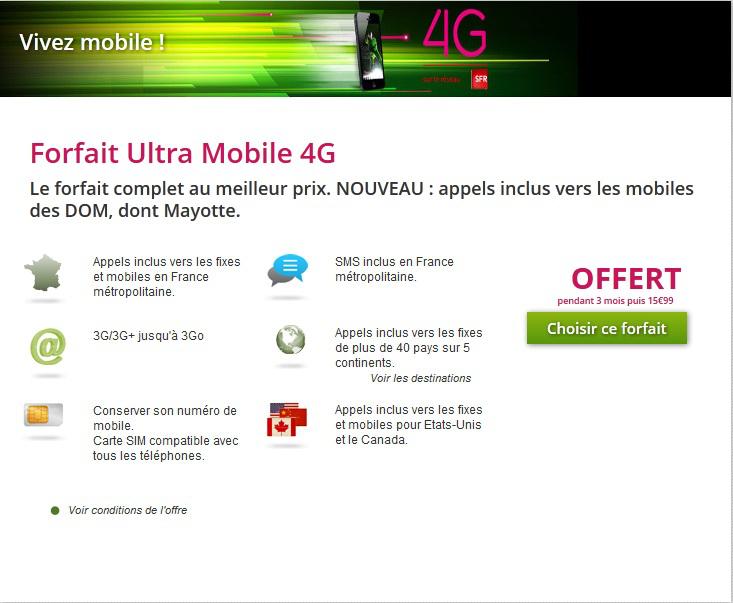 [Abonnés Numéricable] Forfait ultra-mobile 4G sans engagement gratuit pendant 3 mois (puis 15.99€/mois)