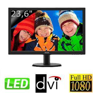 """Ecran 23,6"""" Philips 243V5LSB - LED Full HD - DVI et VGA + 2 bons d'achats de 15€"""