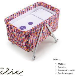 Berceau Baby Clic Confetti (Matelas, Sommier, Housse de couette, Sac de transport)