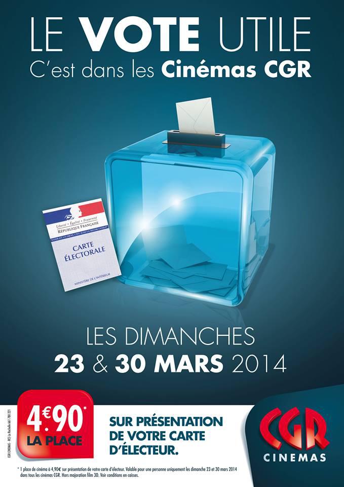 Une place de cinéma sur présentation de la carte d'électeur les 23/03 et 30/03