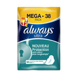 Serviettes always ultra méga pack (38 serviettes)