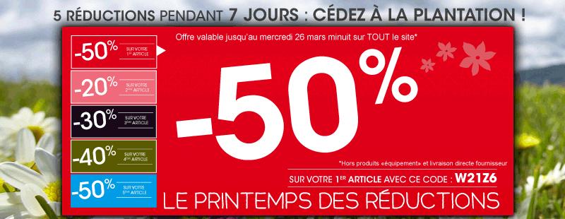 -50% sur le 1er article commandé, -20% sur le 2eme, -30% sur le 3eme, -40% sur le 4eme...