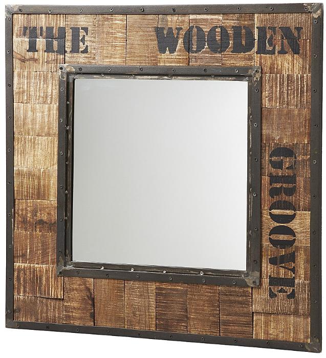 Miroir carré Kanna en style industriel, bois vieilli avec bord de métal (77x77 cm)