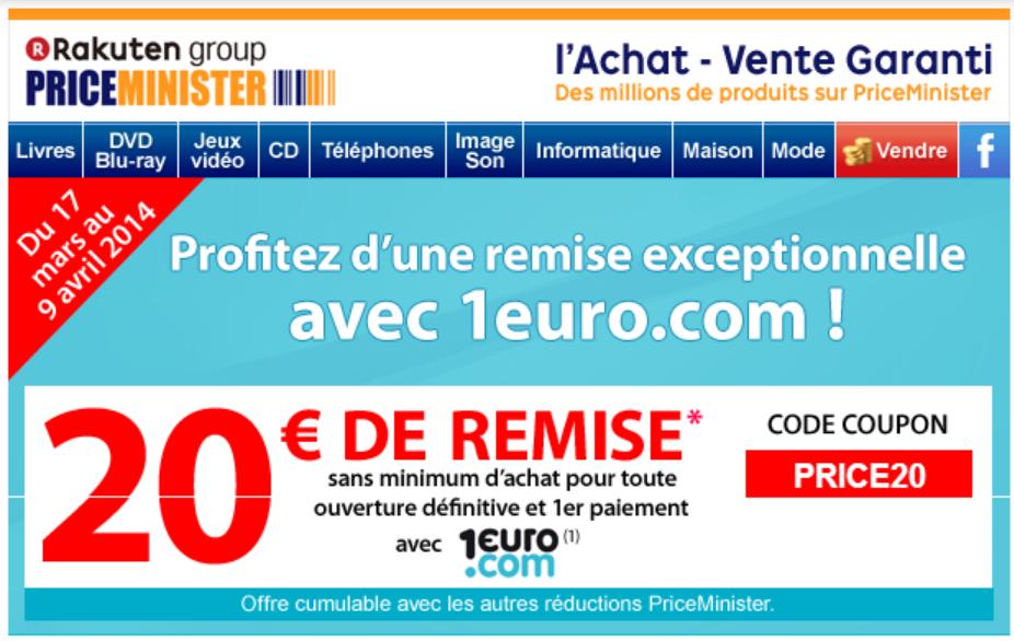 20€ de remise immédiate sans minimum d'achat pour toute ouverture et premier paiement avec 1 euro.com