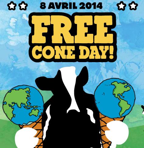 Le 08/04 : Free Cône Day (Journée de la glace gratuite)