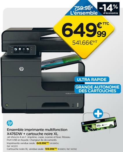 Imprimante multifonction HP X476DW Jet d'encre 4 en 1 + Cartouche noire XL offerte
