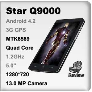 "Smartphone STAR Q9000 5"" / HD / 3G 900/2100Mhz / 4coeurs"