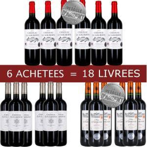 18 bouteilles de vin rouge Bordeaux dont 12 médaillées d'argent