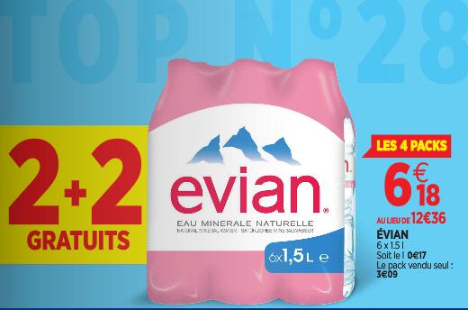 2 packs de 6 bouteilles Evian 1.5L achetés = 2 packs offerts soit les 4