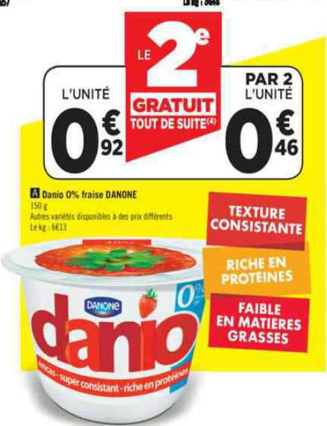 2 pots yaourt Danio de Danone