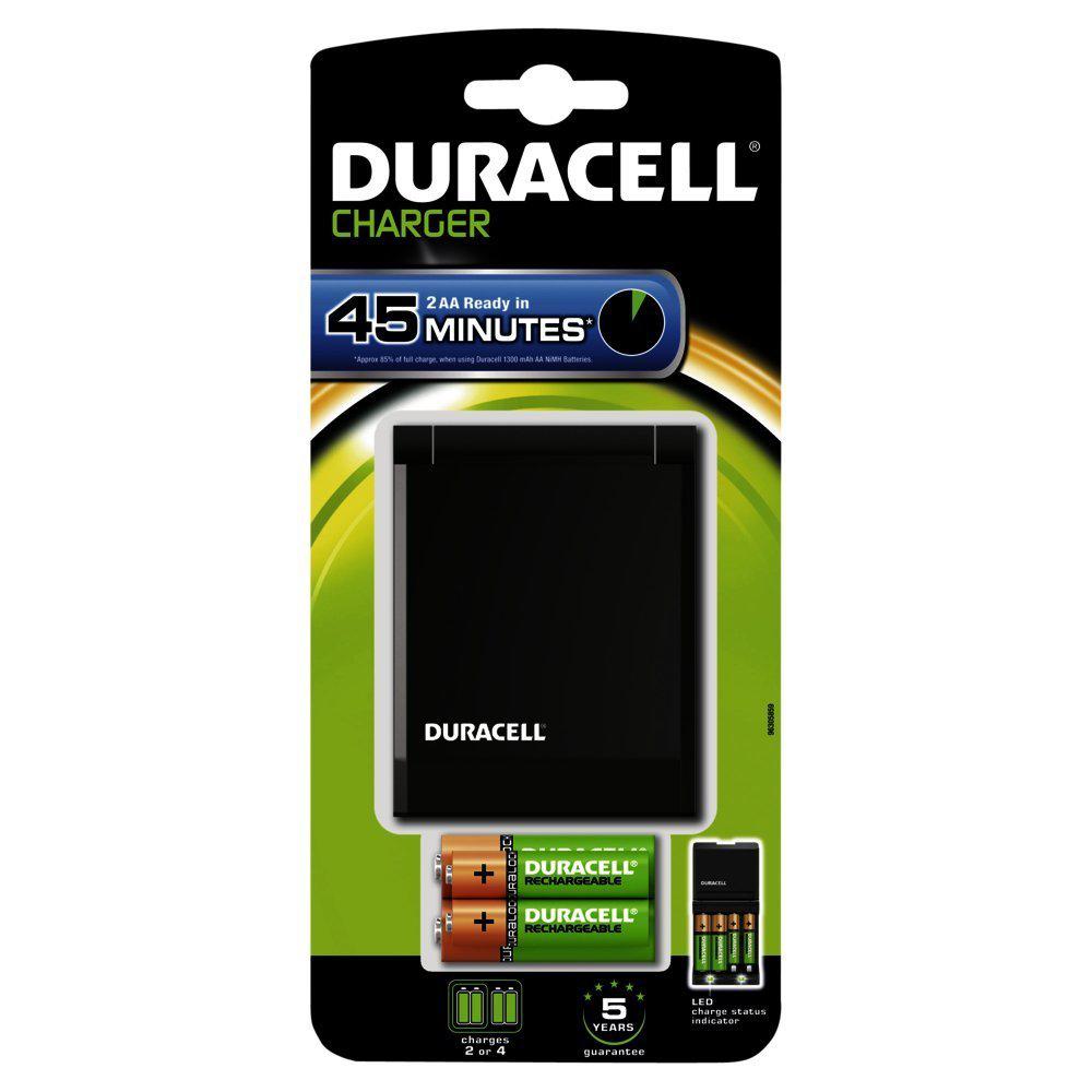 Duracell - Chargeur rapide 45min + 2 Duralock AA 1300mAh + 2 Duralock AAA 750mAh