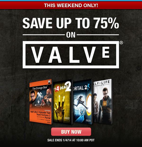 Offre du Weekend :  Jusqu'à -75% sur une sélection de jeux Valve + 20% de remise (Ex : The Orange Box)