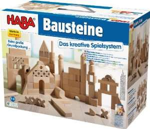 Boîte de briques de construction en bois Haba (Grand modèle - 102 pièces) / Port inclus