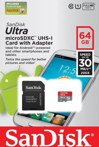 Carte memoire SanDisk Micro SDXC 64 Go Classe 10 UHS-I + adaptateur SD