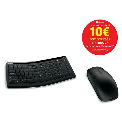 Clavier sans fil Bluetooth Microsoft Mobile Keyboard 5000 + Souris sans fil Microsoft Touch Mouse (Avec ODR de 10€)