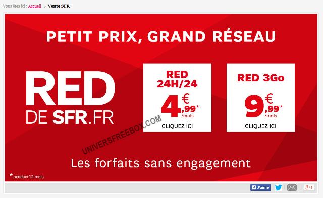 A partir du 31/03 : Forfait sans engagement 24h/24 à 4.99€ et RED 3 Go