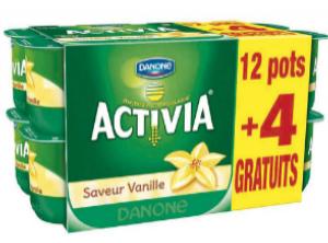 16 (12+4) yaourts Activia nature ou vanille