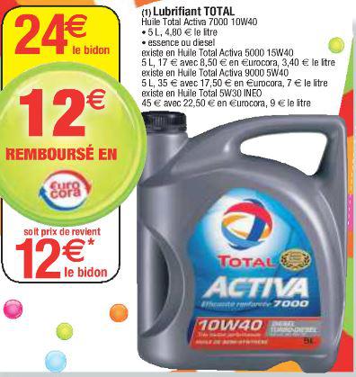 Huile moteur essence ou diesel Total Activa 10W40 5L (-50% sur la carte Cora)
