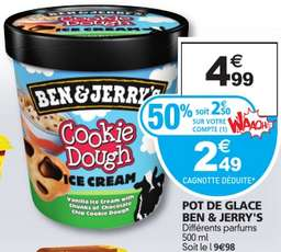 Pot de glace Ben&Jerry's - Différents parfum (50% sur carte + remboursement via application)