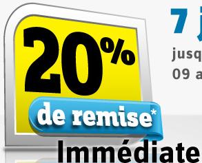 20% de réduction sur votre commande