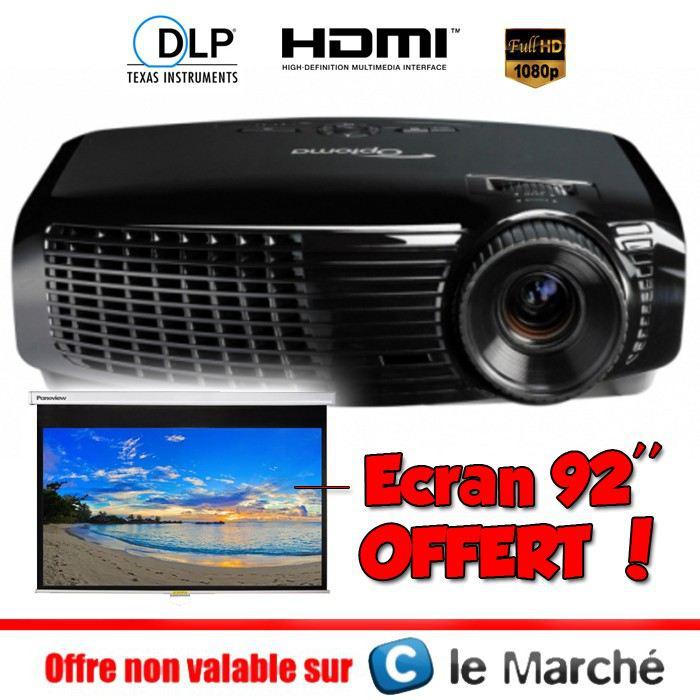 "Vidéo projecteur Optoma HD131XE - Full HD 3D + Ecran 92"" Optoma DS-9092PMG+"
