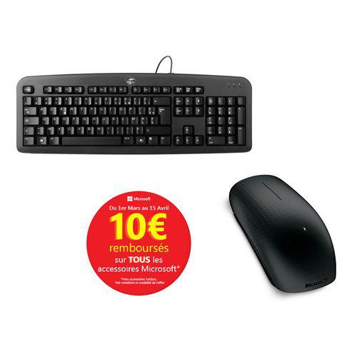 Souris sans fil Microsoft Touch Mouse + Clavier USB Deluxe Classic ML300450 (Avec ODR de 10€)