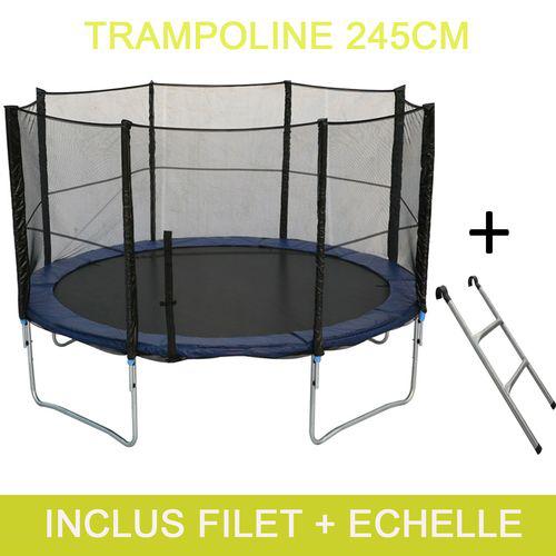 Trampoline avec filet de protection et échelle - diamètre: 245 cm (port inclus)