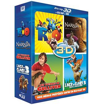 Coffrat Blu-ray 3D/2D + DVDs : Rio + L'Âge de Glace 3 + Le Monde de Narnia 3 + Les Voyages de Gulliver
