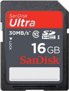 Carte Mémoire SDHC SanDisk 16Go Ultra classe 10 (30Mo/s) UHS-I