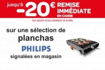 20€ de remise immédiate en caisse sur une sélection de Plancha Philips
