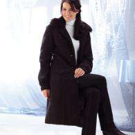 Manteau col imitation fourrure Blanche Porte
