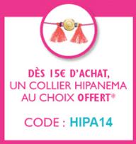 Un collier Hipanema offert dès 15€ d'achat