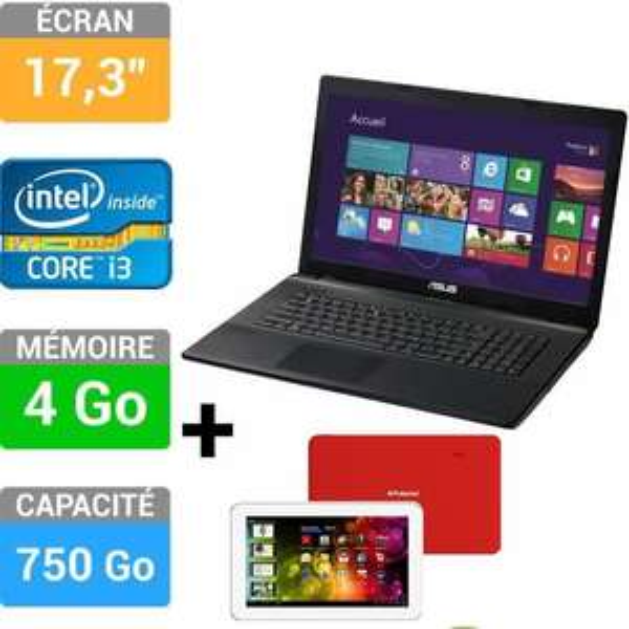 """Pack PC Portable Asus X75A-TY232H (17"""", i3, 750G, 4Go Ram, GT720) + Tablette Polaroid Diamond 7"""" 4Go"""