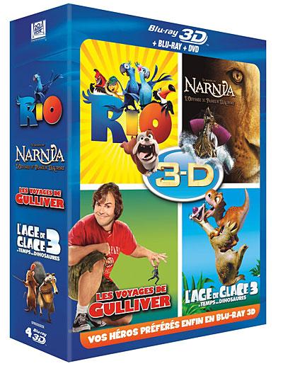 Coffret Blu-Ray 3D/2D + DVD: Rio + L'Âge de Glace 3 + Le Monde de Narnia 3 + Les Voyages de Gulliver