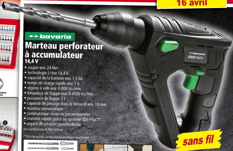 Marteau perforateur Bavaria à accumulateur 14.4V + Accessoires inclus
