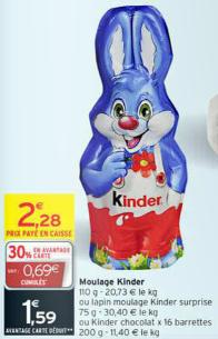 Lapin Kinder Surprise (30% immédiat + bon de réduction)