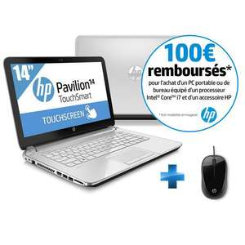Pack PC Portable HP Pavilion 14'' - Core i7, SSHD 750 Go + 8GO SSD, RAM 4 Go + Souris filaire HP (Avec 100€ ODR)