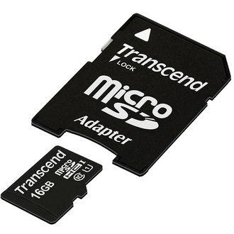 Carte mémoire Micro Sd Card Transcend 16Go Classe 10 UHS 1 avec Adaptateur