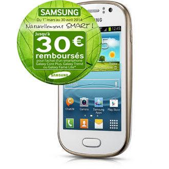 Smartphone Samsung Galaxy Fame Lite - Blanc ou Noir (Avec ODR 30€)