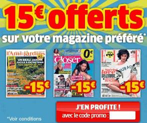 15€ de réduction pour 1 an d'abonnement à votre magazine préféré