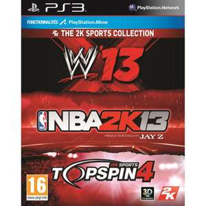 Jeux PS3 Triple Pack Sport : NBA 2K13 + WWE13 + Top Spin 4