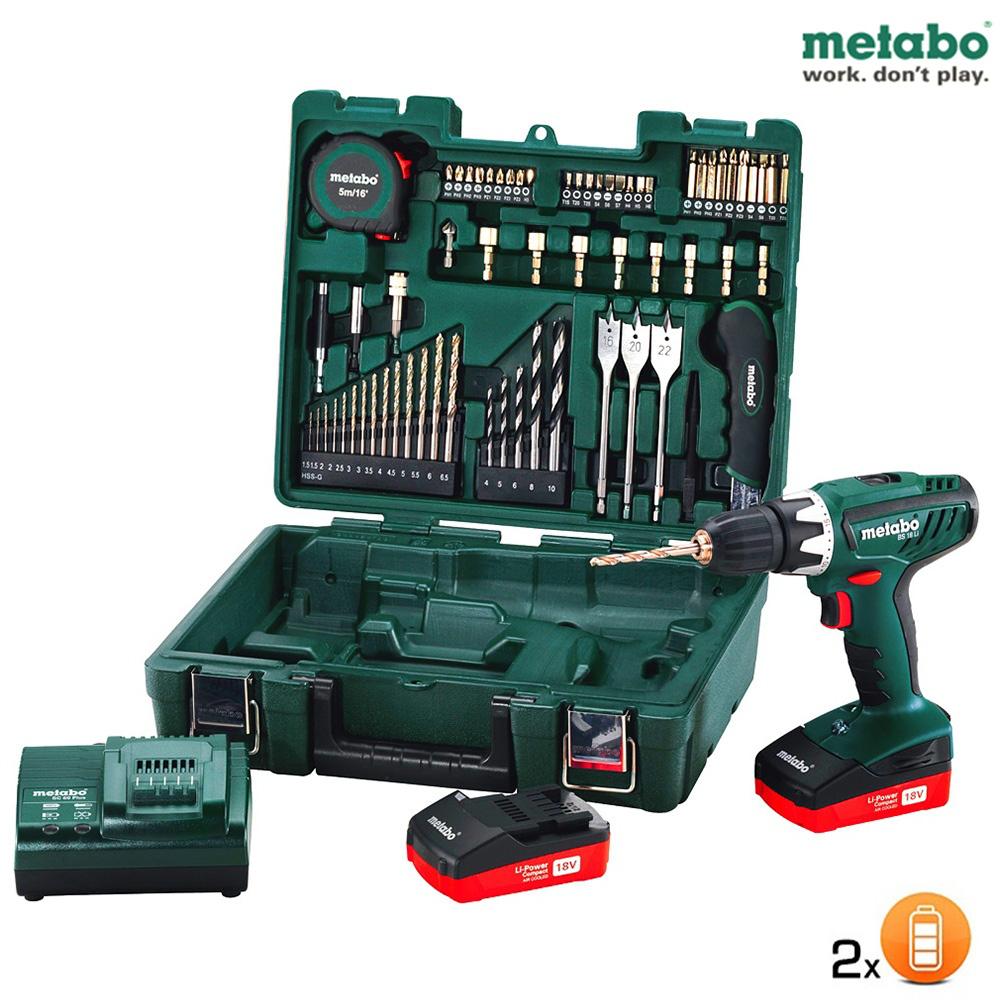 Coffret atelier mobile Metabo 65 pièces - Perceuse visseuse SF 18V